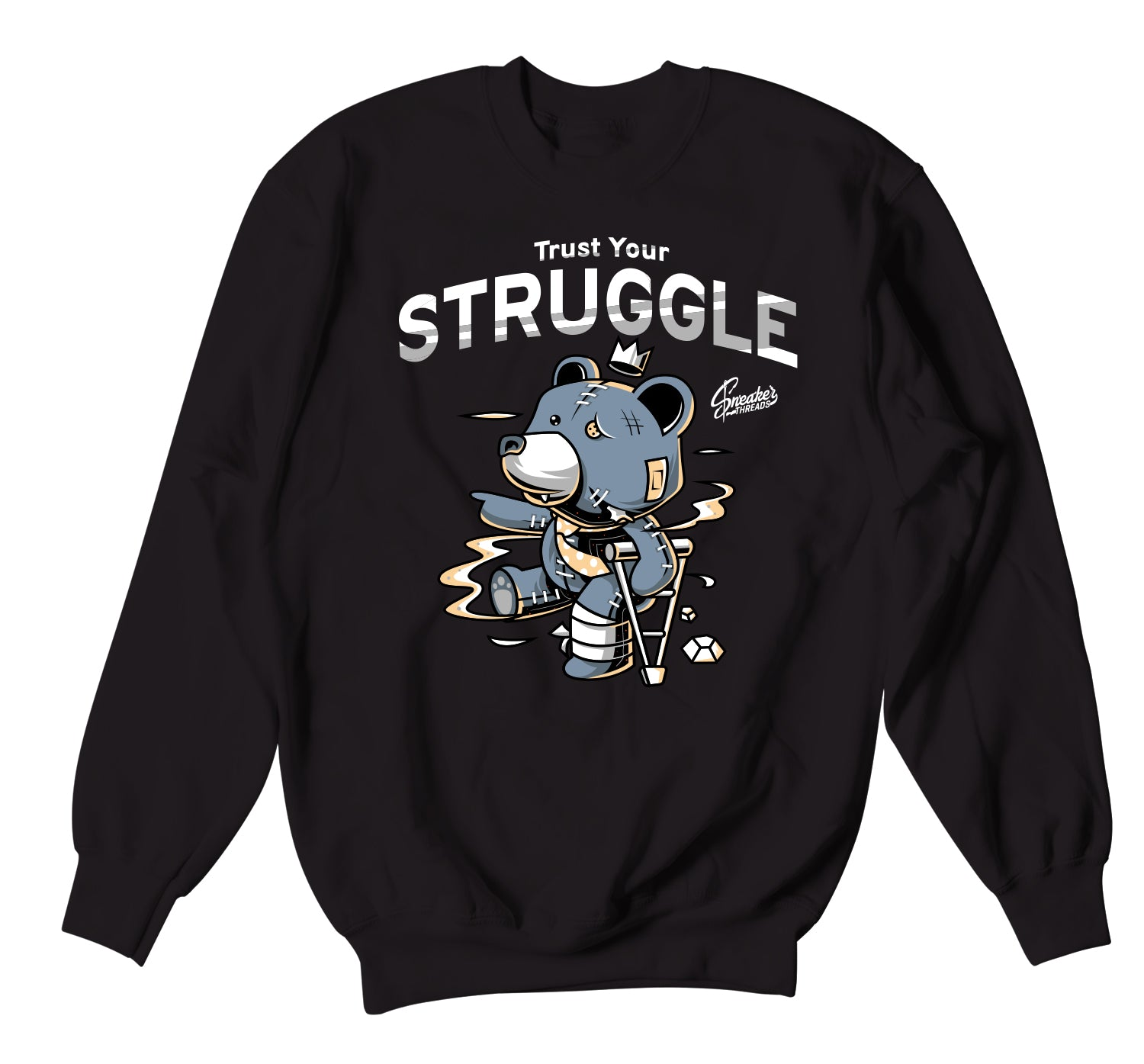 Yeezy Ash Blue 350 Sweater - Trust Your Struggle - Black