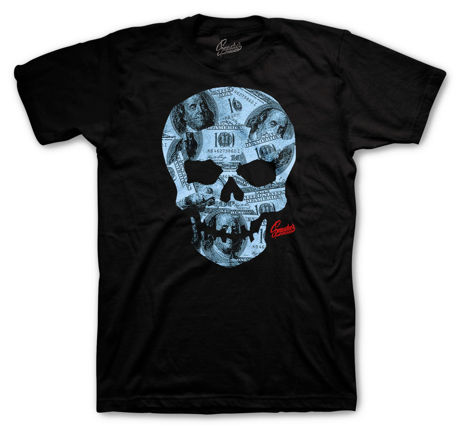 Jordan 4 University Blue Shirt - Money Skull - Black