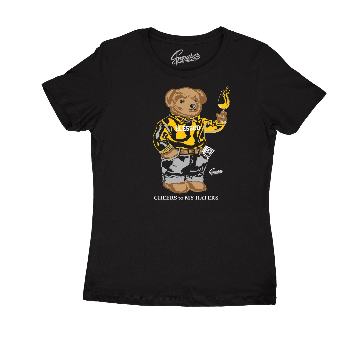 Womens Cool Grey 3 Shirt - Cheers Bear - Black