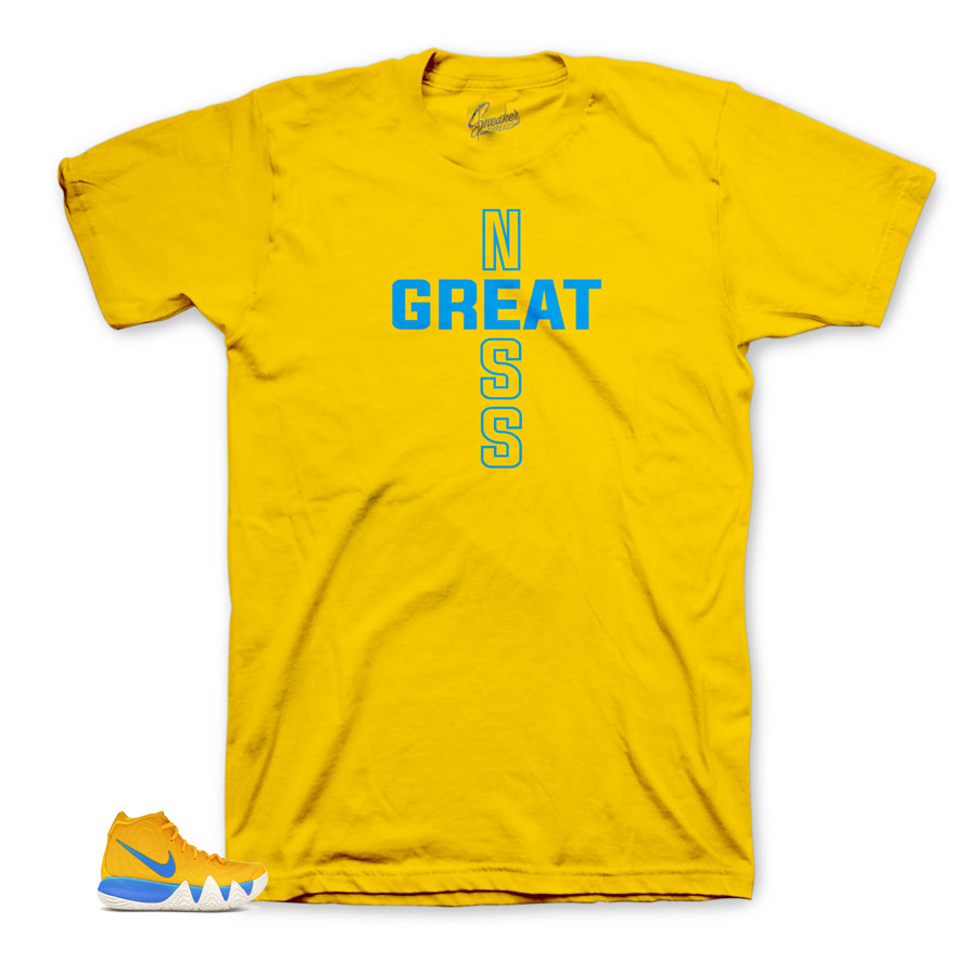 Greatness Yellow tee for Kyrie Kix 4's