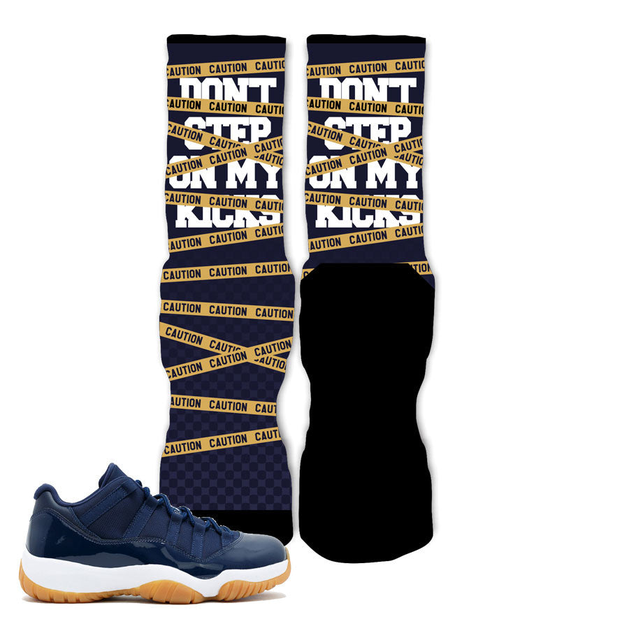 Jordan 11 Navy Socks - Caution