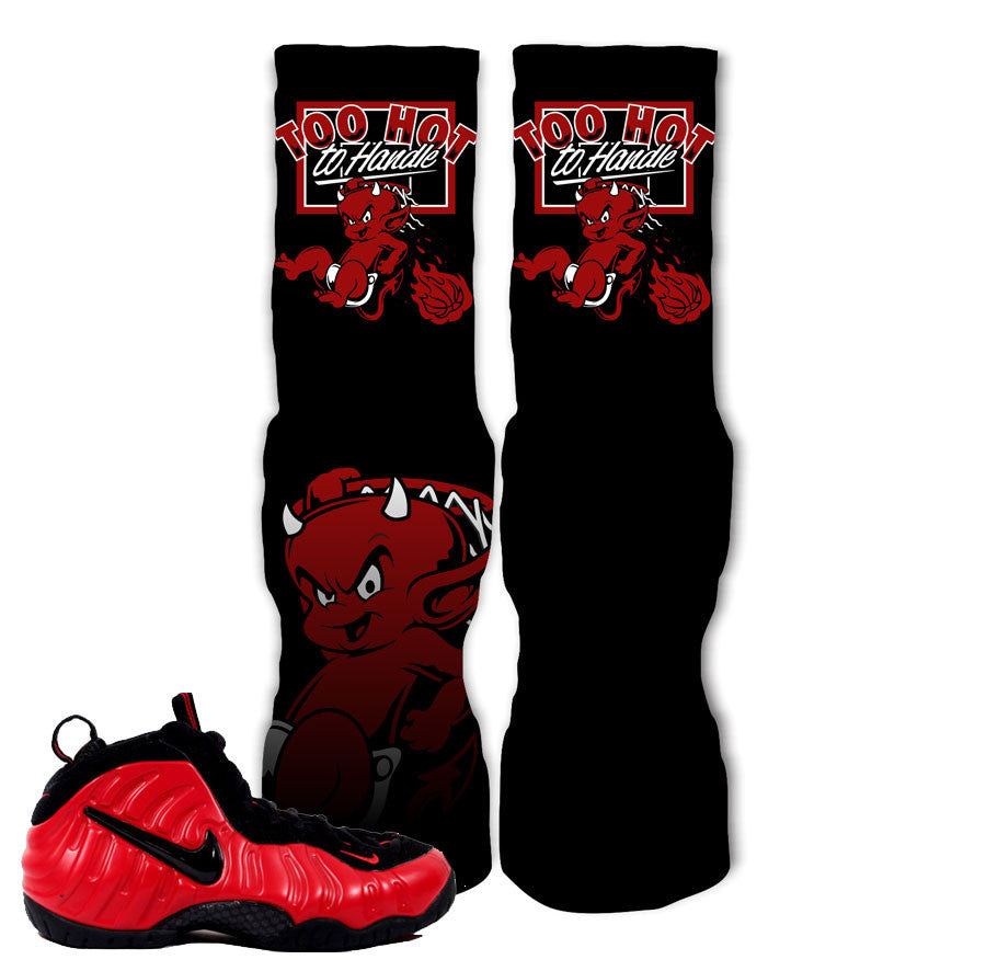 Foamposite University Red Socks - Too Hot To Handle - Black