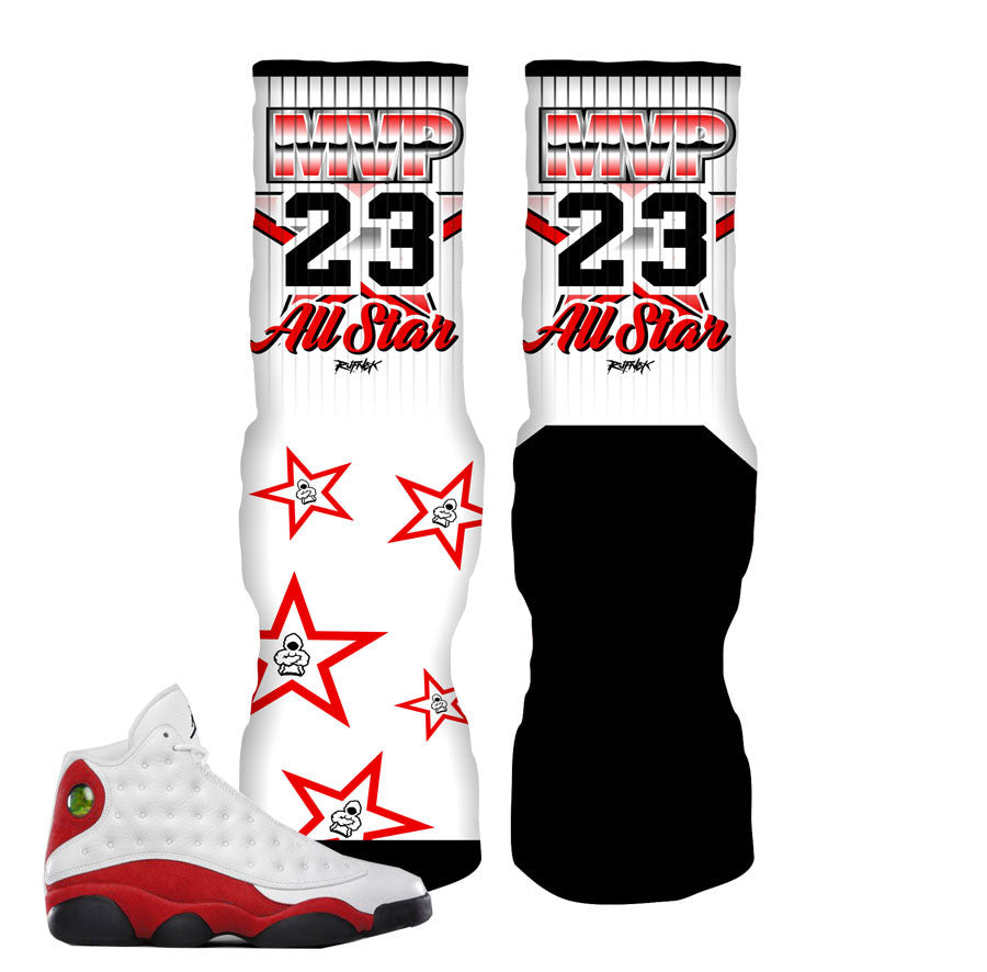 Jordan 13 True Red Socks - MVP