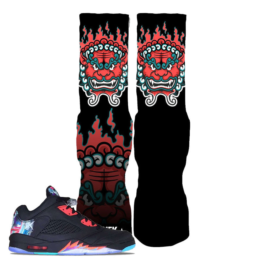Jordan 5 China Socks - FU-DOG