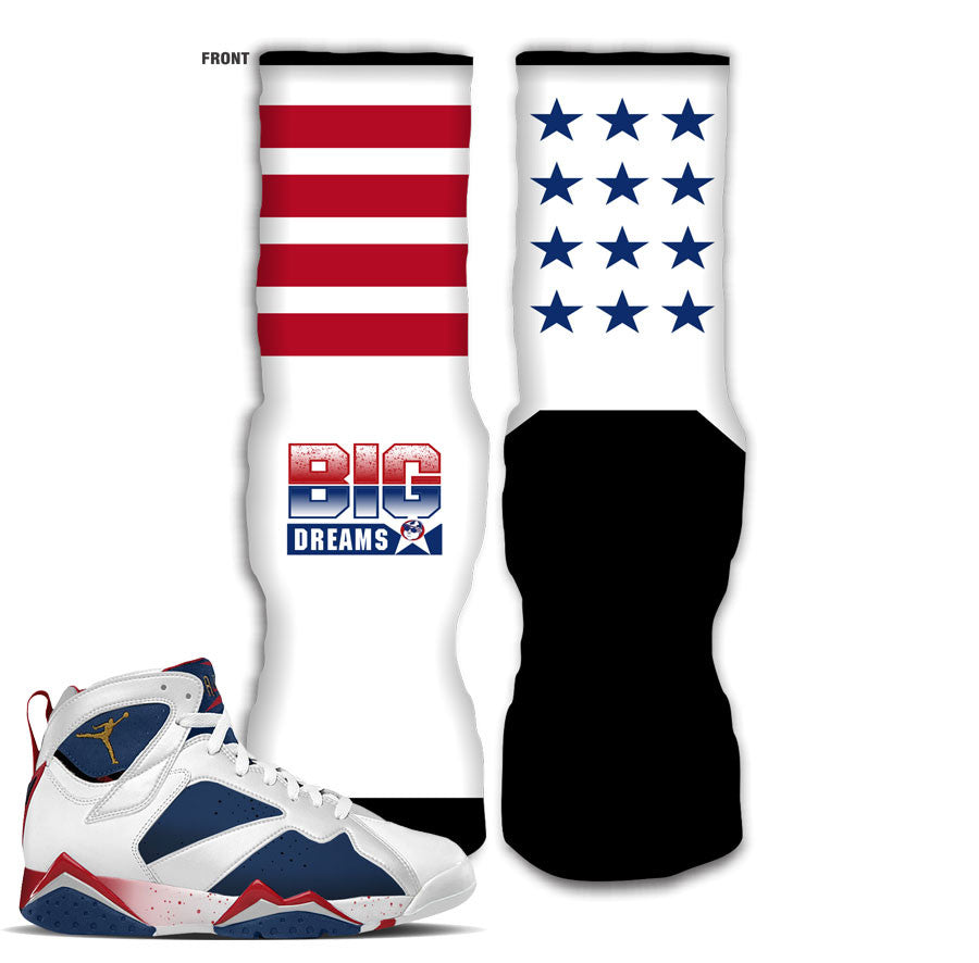 Socks match jordan 7 tinker alternate retro 7 olympic sock.
