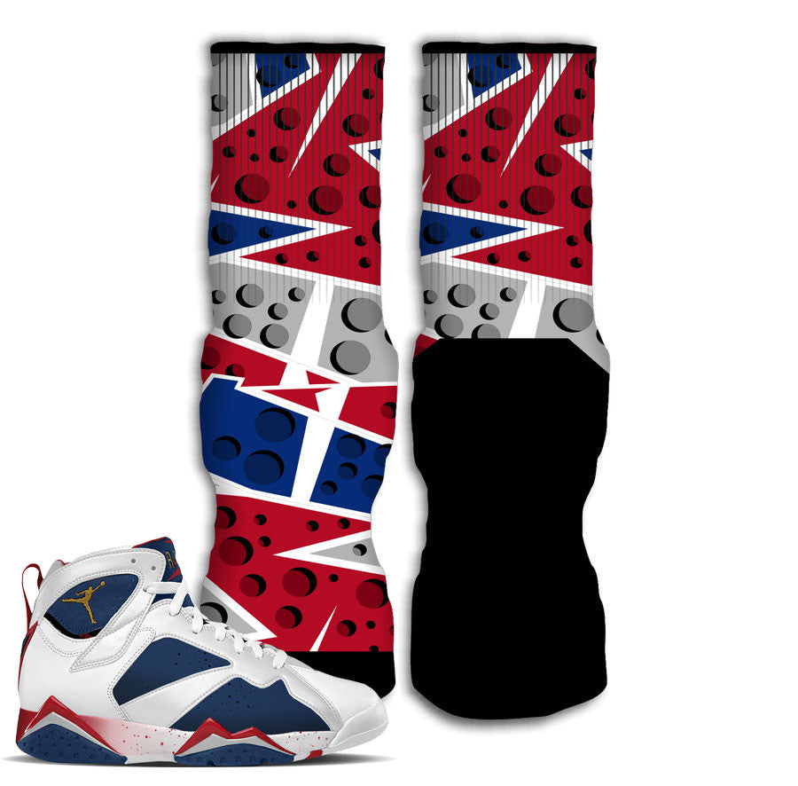 Jordan 7 tinker alternate socks match retro 7 olympic sock.