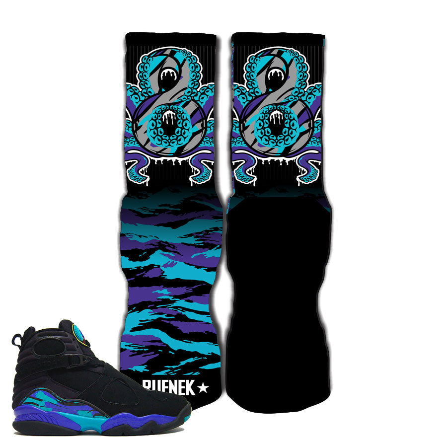 Elite socks match Jordan 8 aqua retro 8 qua elite socks.