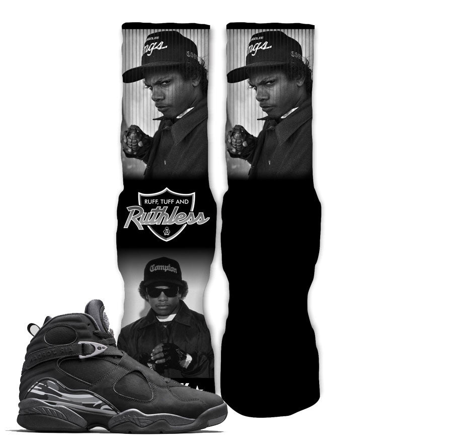 Jordan 8 Chrome Socks - Ruthless