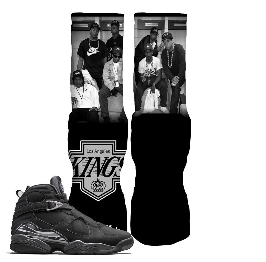 Jordan 8 Chrome Socks - LA Kings