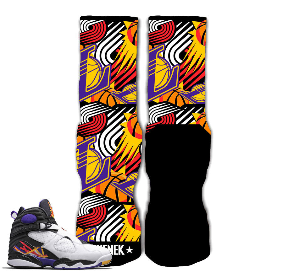 Jordan 8 Three Peat Socks - Road To My 3-Peat