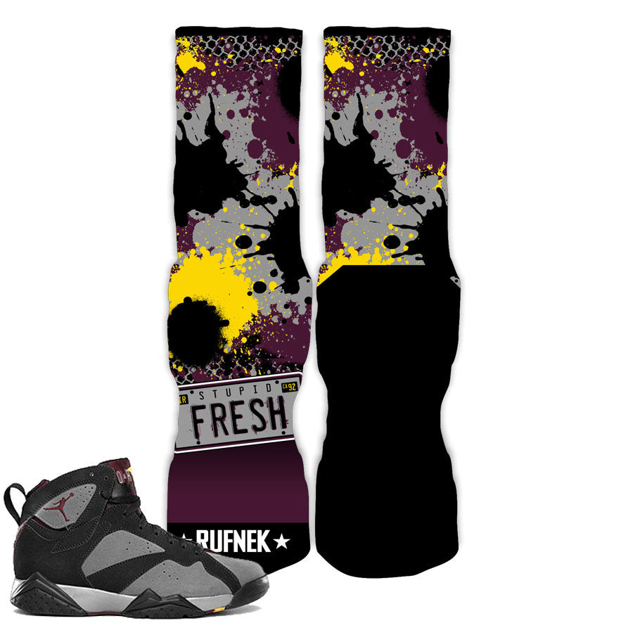 Jordan 7 Bordeaux Socks - Stupid Fresh