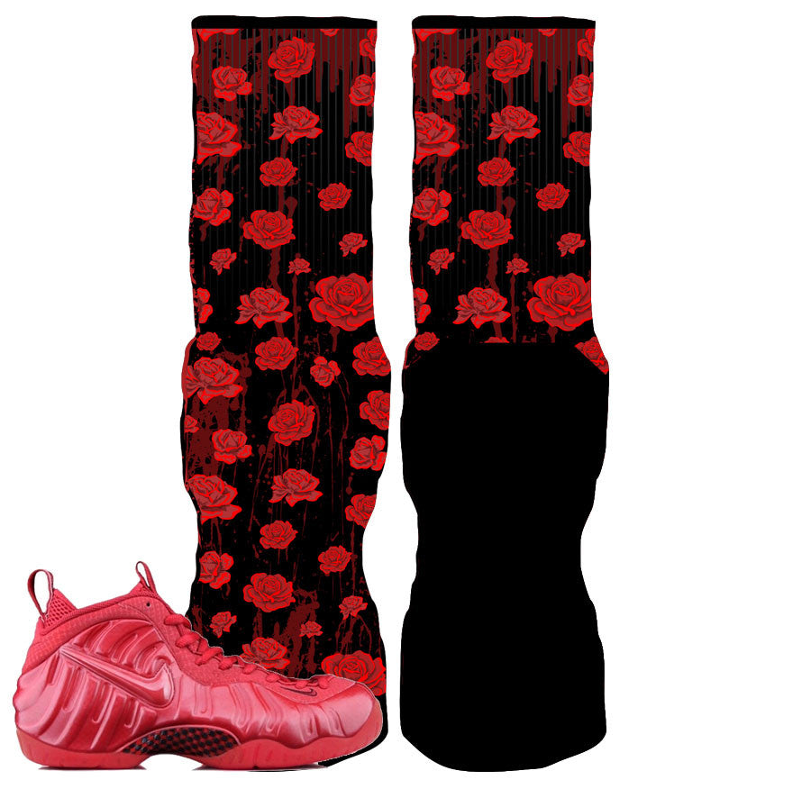 Foamposite Pro Gym Red Elite Socks - Blood Roses Socks