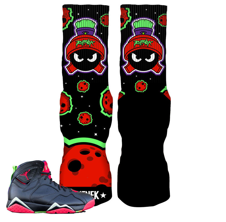 Jordan 7 Marvin The Martian REMIX Socks - Not Of This World