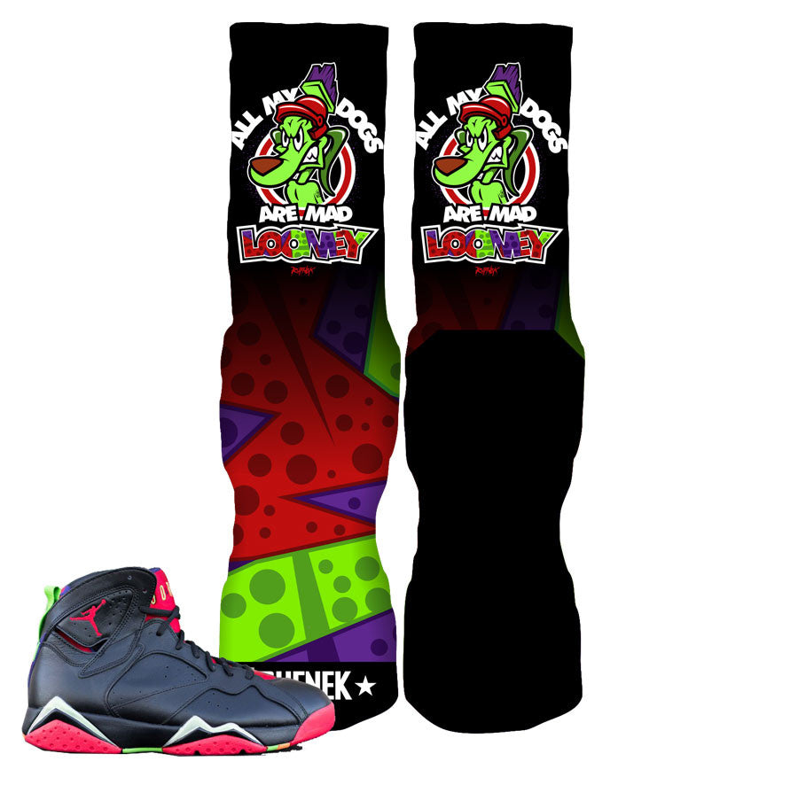 Jordan 7 Marvin The Martian REMIX Socks - All My Dogs