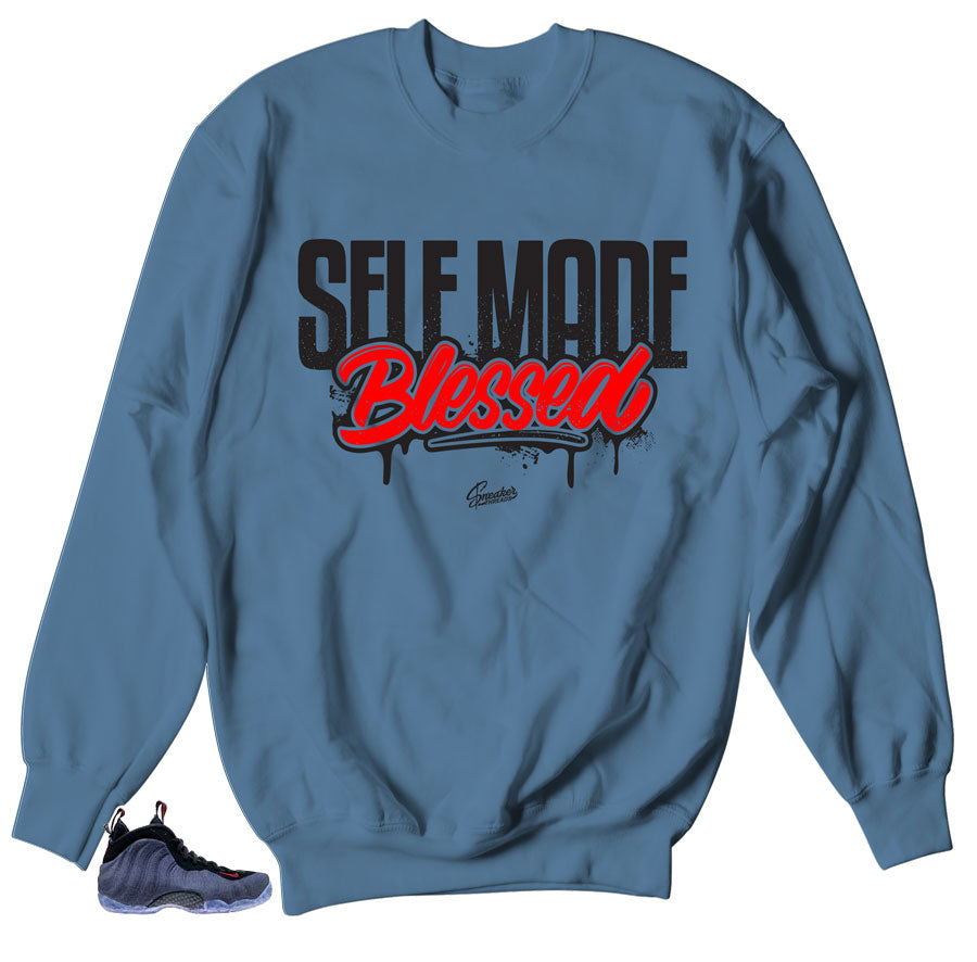 Self Made crewneck to match Denim Foamposites