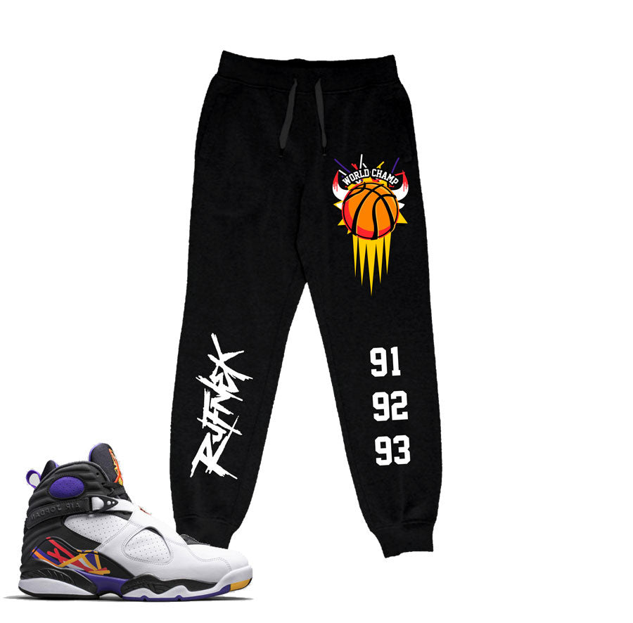 Sweatpants match Jordan 8 three peat sneaker match threepeat  joggers.