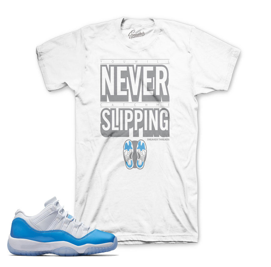 Match Jordan 11 columbia blue tees retro 11's UNC tee shirts.