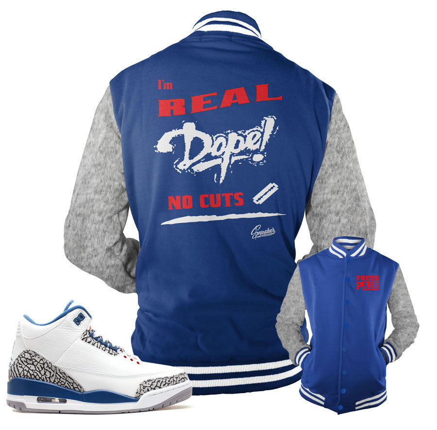 1d20c43ad8e Jackets match Jordan 3 true blue OG retro 3 true blue.
