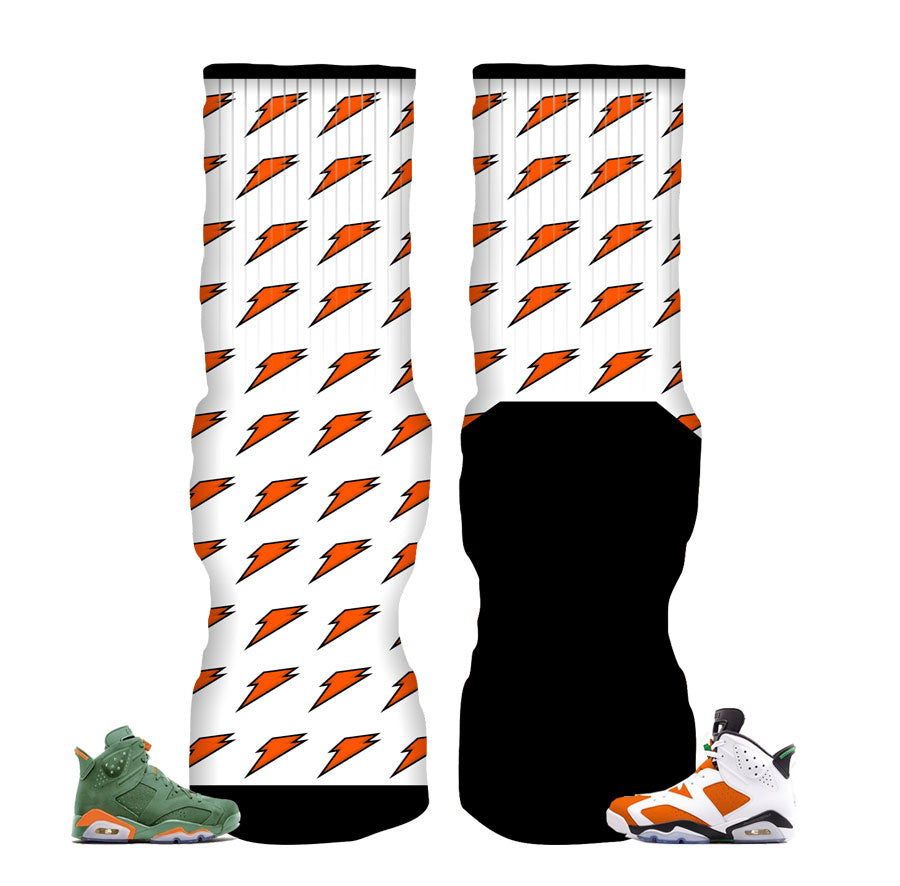 Jordan 6 Gatorade Socks - Gatorade Bolts