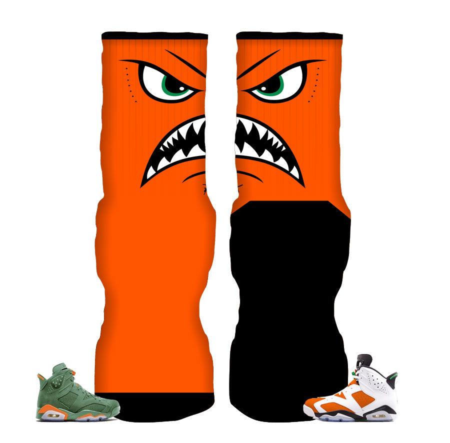 Jordan 6 gatorade socks match retro 6 shoes.
