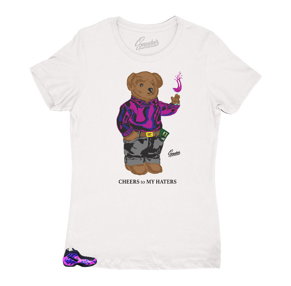 Womens shirts match the womens Foamposite camo purple sneakers
