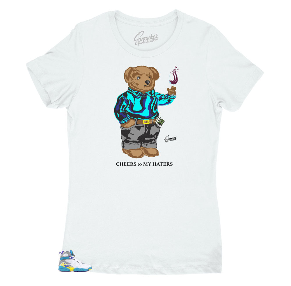 Women's White Aqua 8 Shirt - Cheers Bear - White