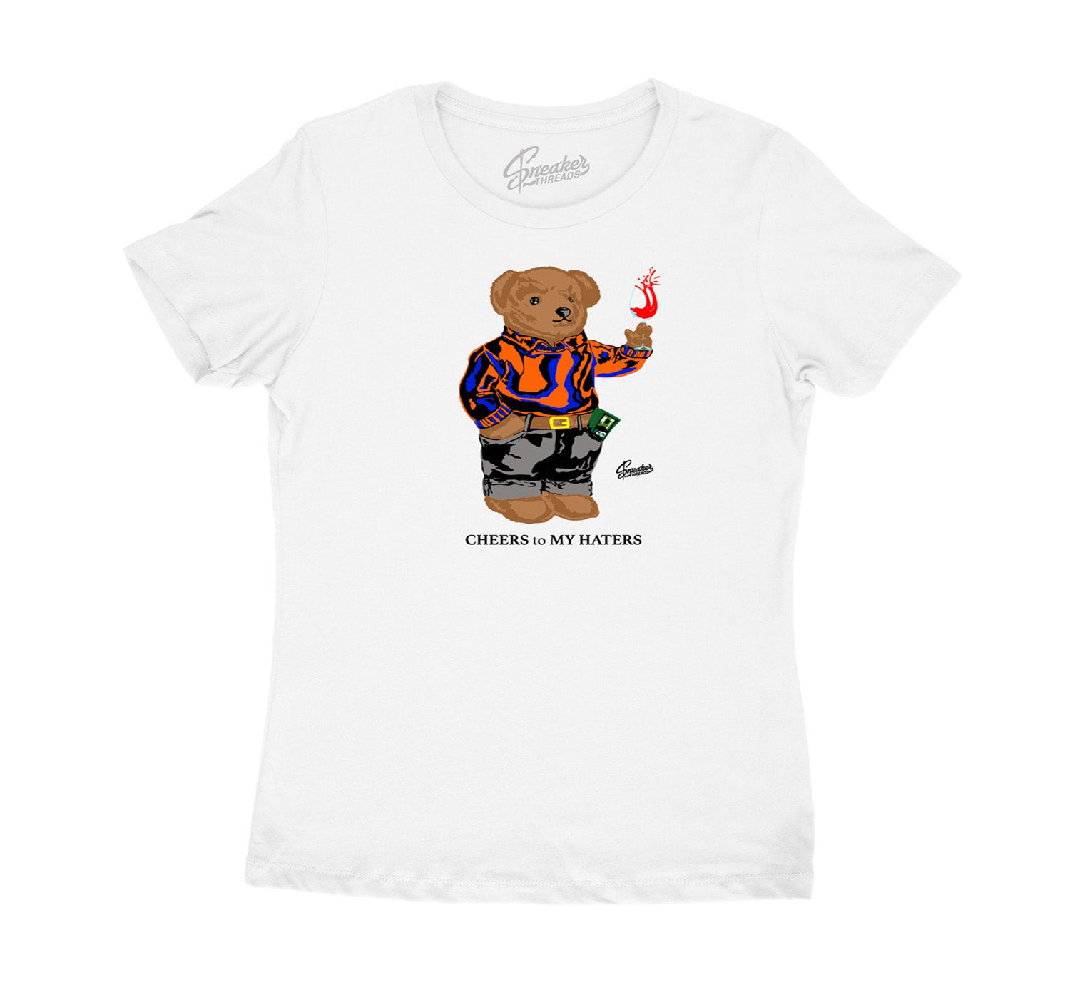 Womens Knicks 3 Shirt - Cheers Bear - White
