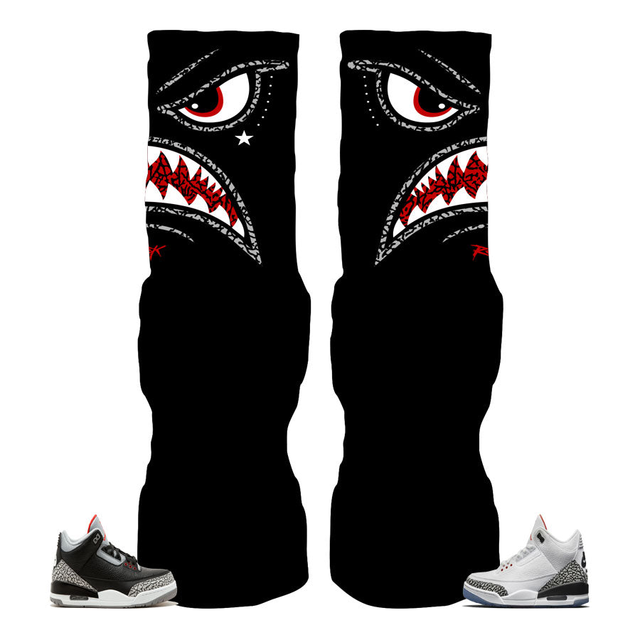 c67496e083eb Socks match Jordan 3 black cement shoes