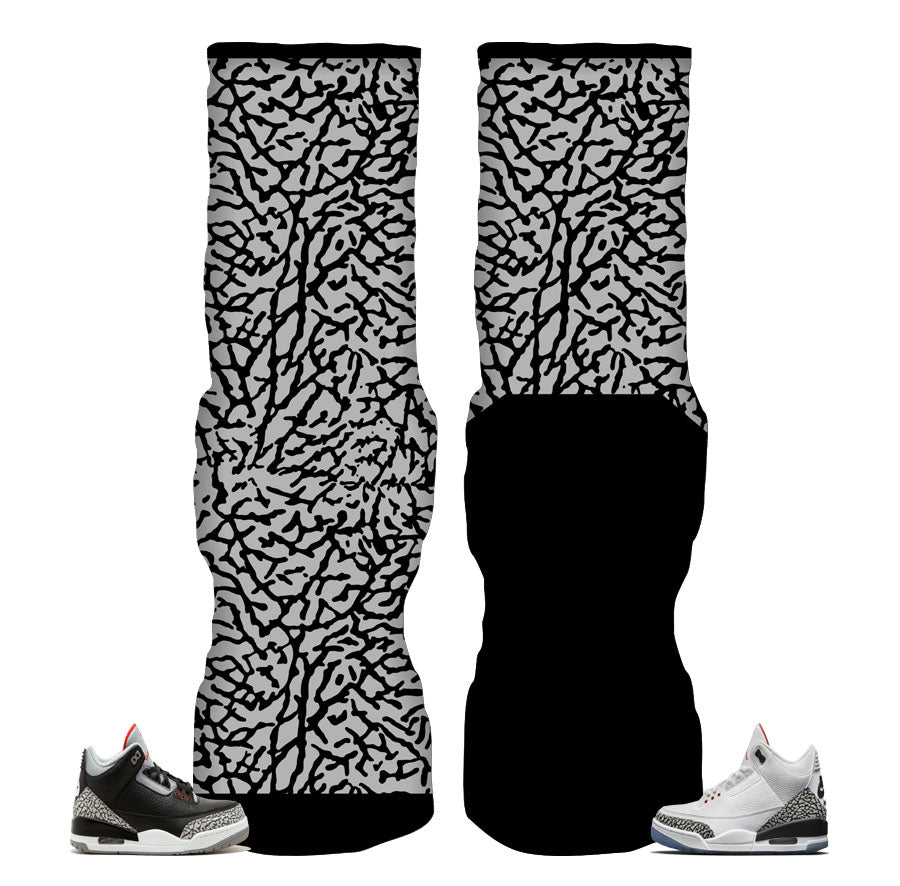 Socks match Jordan 3 black cement shoes | Retro 3 elite socks match.
