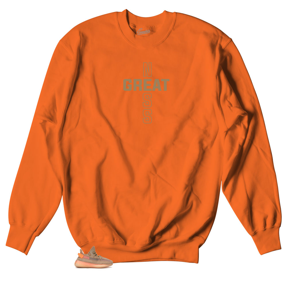 3fb819f0e Yeezy Clay Sweater - Greatness Cross - Neon Orange. From   49.99. Yeezy  clay sneaker boost 350s match tee shirts ...