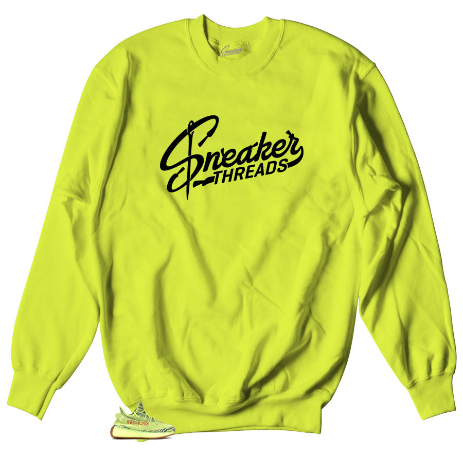 Sneaker threads logo sweater match yeezy frozen yellow shoes.