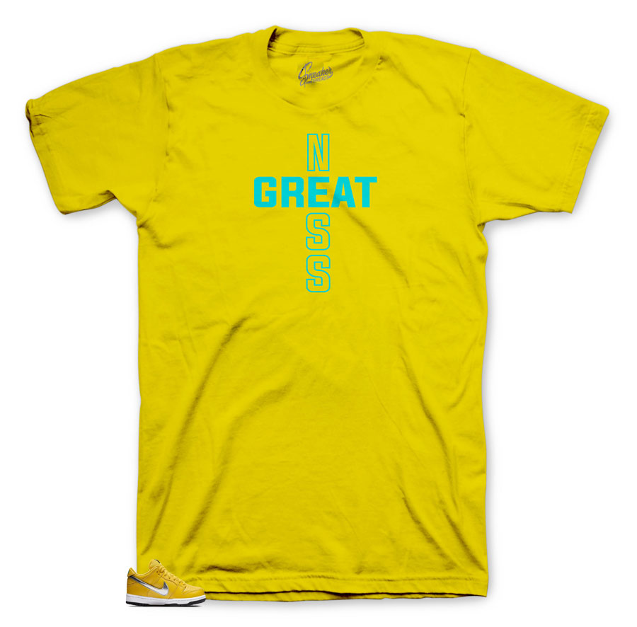 Dunk SB Canary exclsive Diamond greatness cross shirt