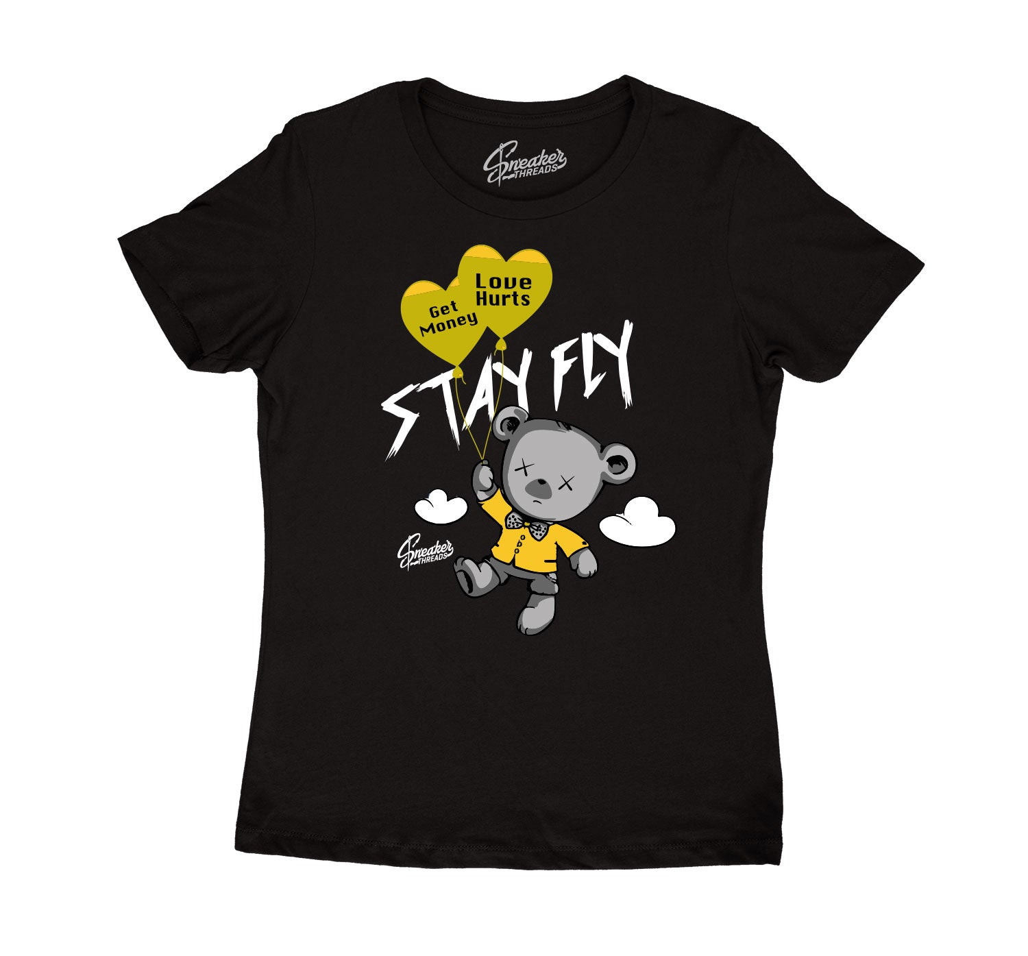 Womens University Gold 9 Shirt - Money Over Love - Black
