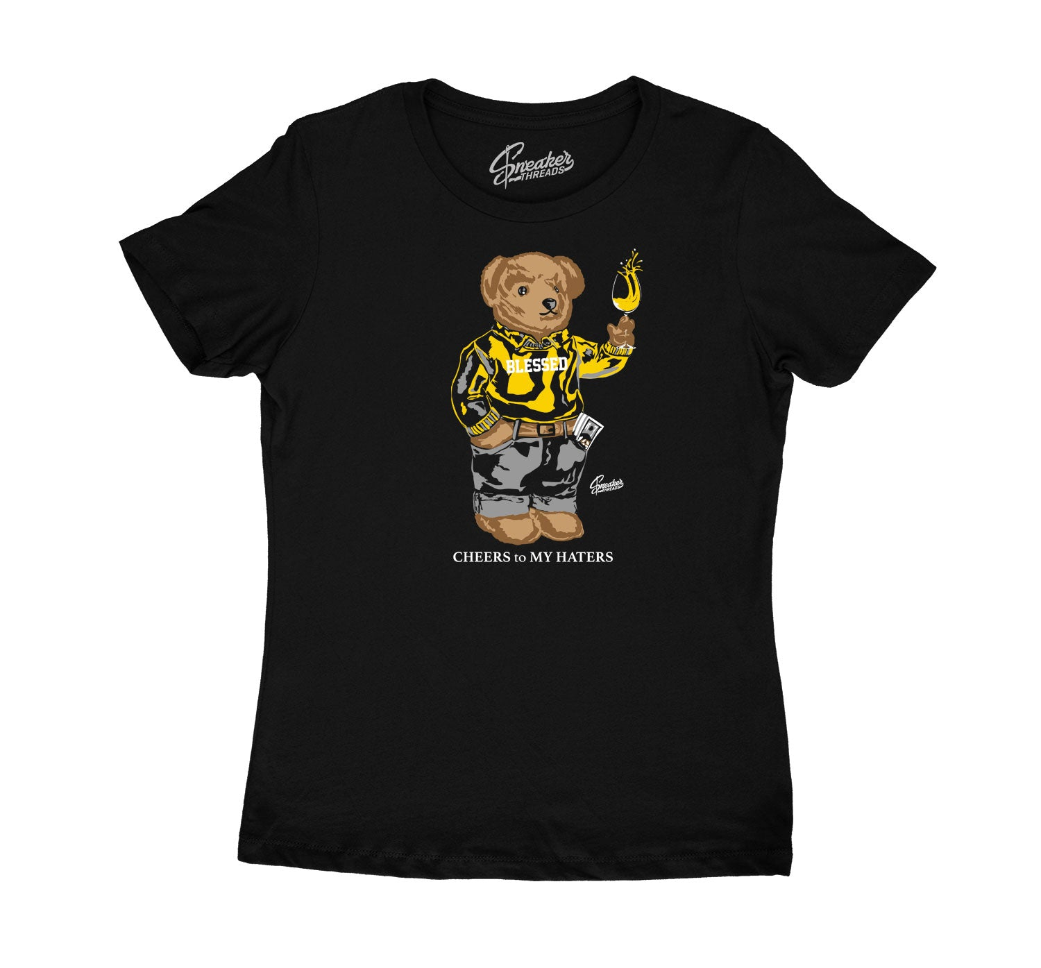 Womens University Gold 9 Shirt - Cheers Bear - Black