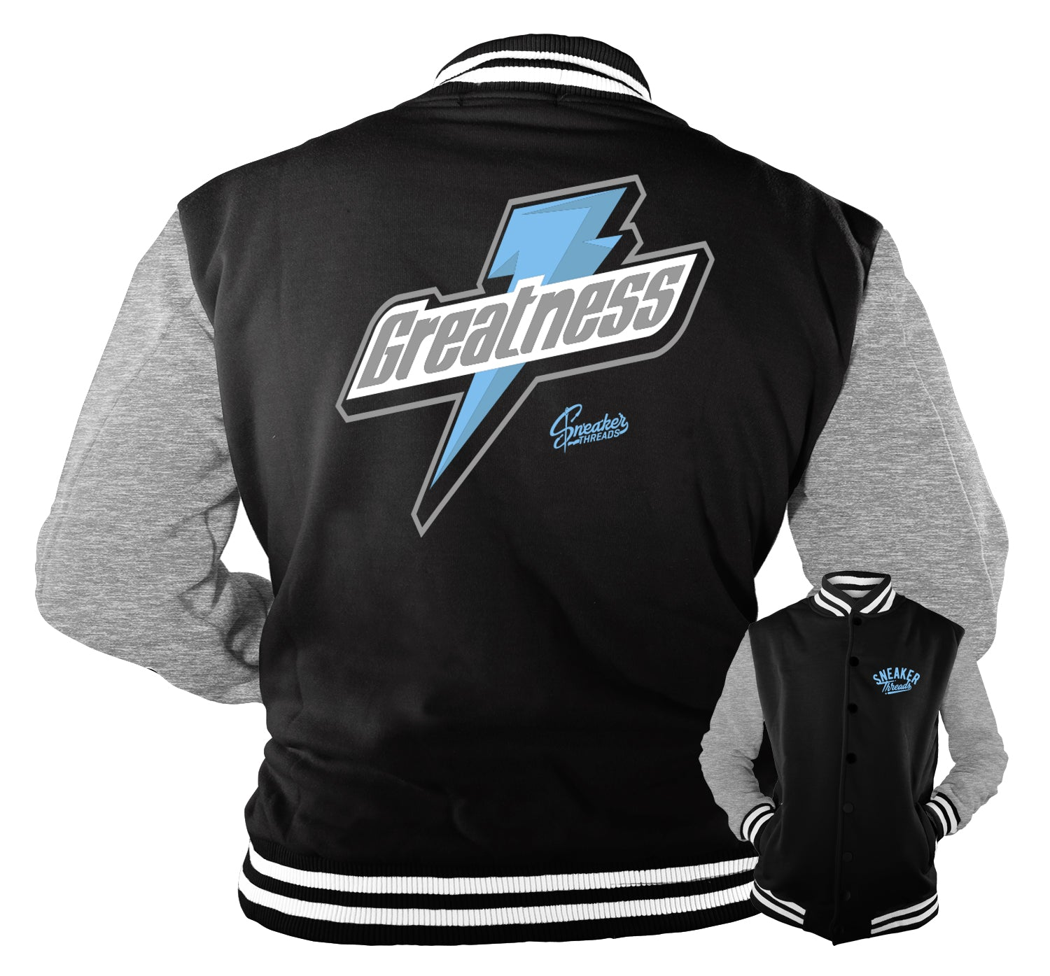 Jacket designed to match the Jordan 9 university blue sneakers