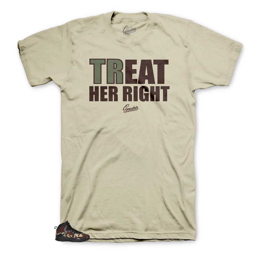 Jordan 10 Woodland Treat her right shirt to match sneakers
