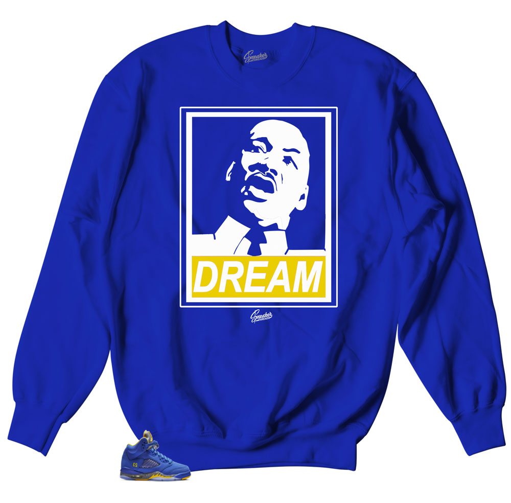 Jordan 5 varsity royal sneaker sweaters match retro 5s shoes.