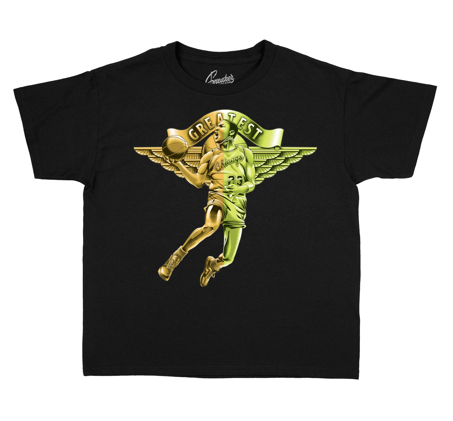 Jordan 1 Volt Gold sneaker collection matching with kids  tees