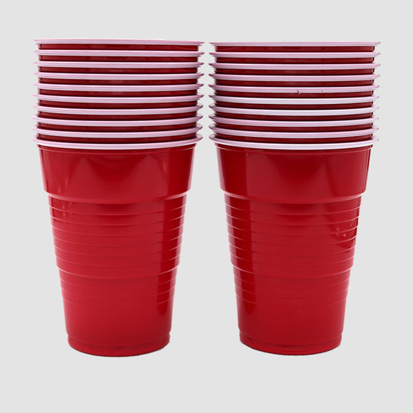 18oz Red Plastic Cups (Set of 20)