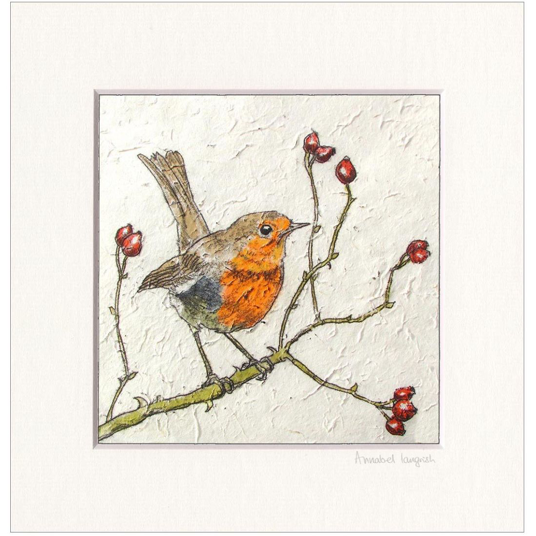 Annabel Langrish Robin and Rosehips Print
