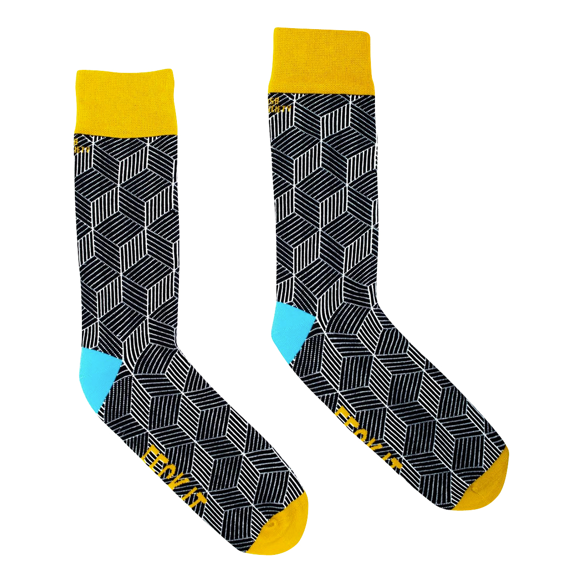 Irish Sock Society - 'Feck It' Socks - Black & Yellow