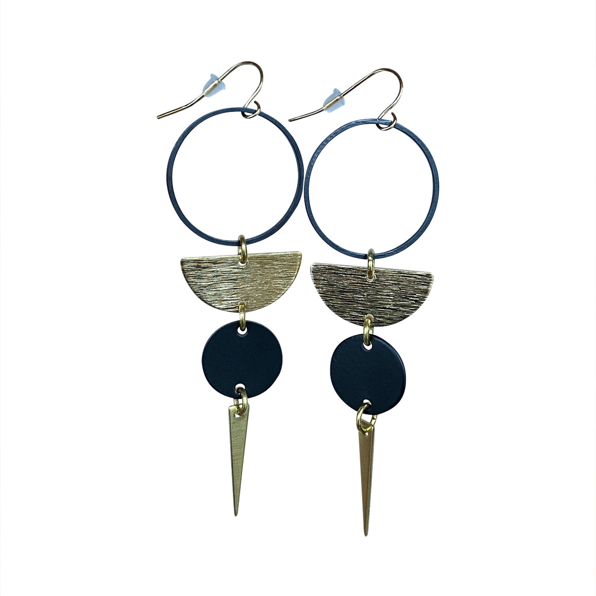 Kaiko Black Circle Half Moon Earrings