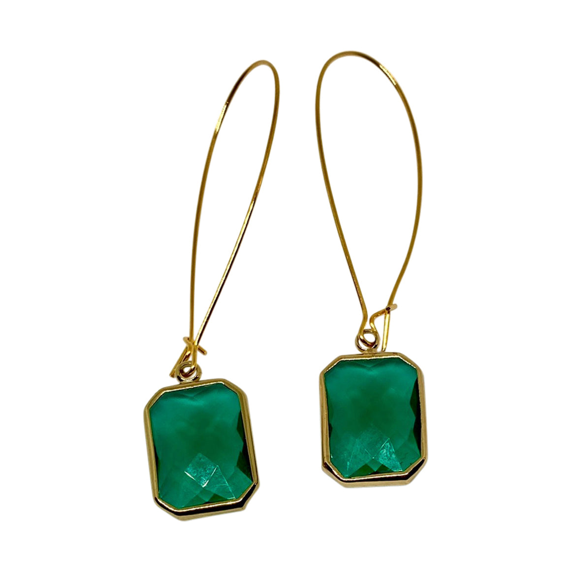 Kajoux Emerald Deco Drop Earrings - Long
