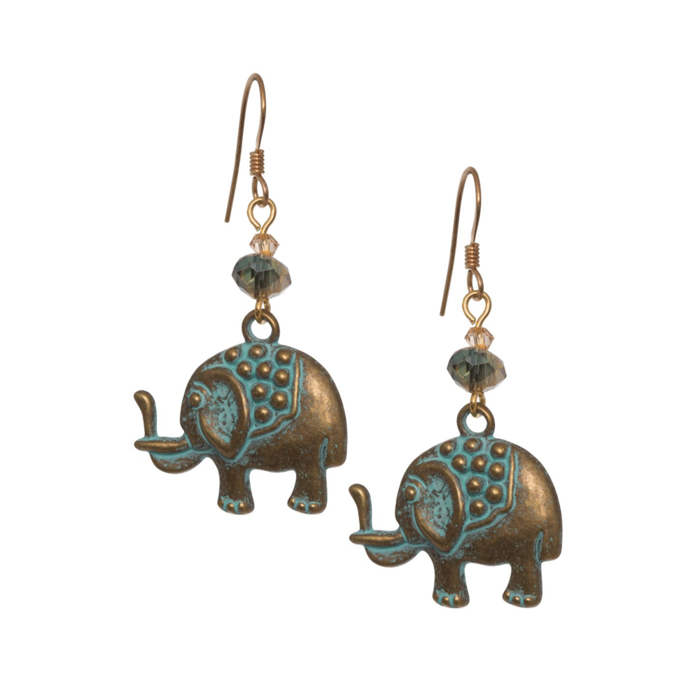 Melanie Hand - Verdigris Elephant Earrings