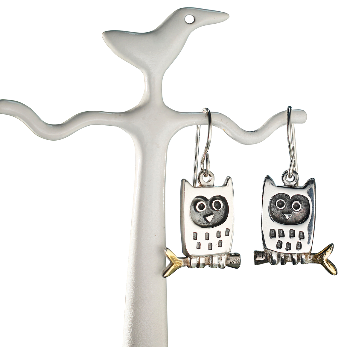 Alan Ardiff Little Owl Silver Drop Earrings