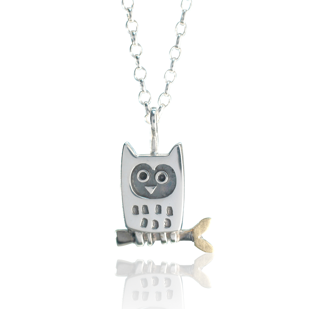 Alan Ardiff Little Owl Silver Pendant With 18kt Gold