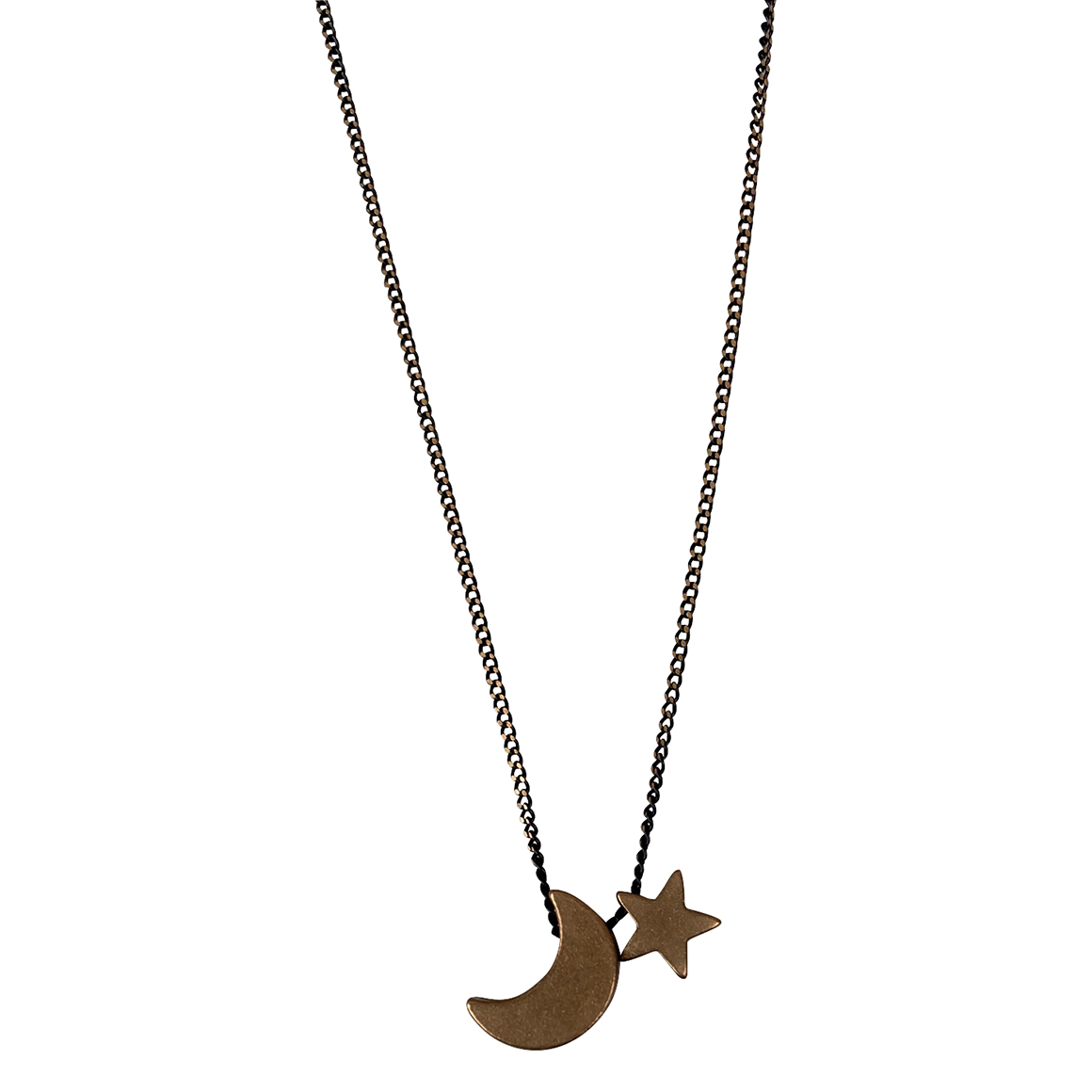 Kaiko Crescent Moon and Star Pendant