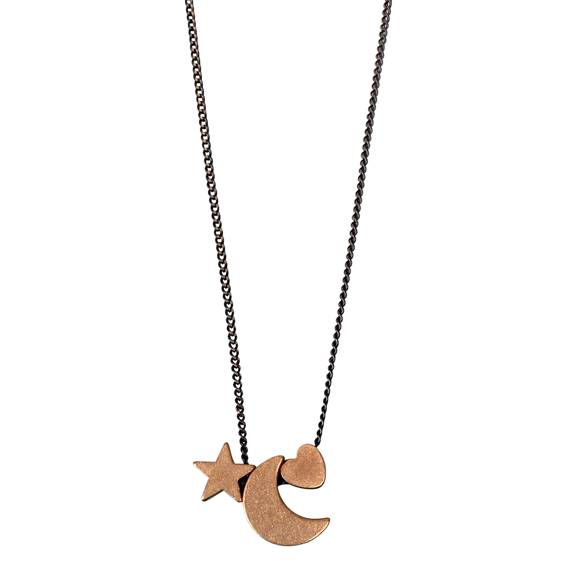 Kaiko Pendant Crescent Moon Star and Heart - Small