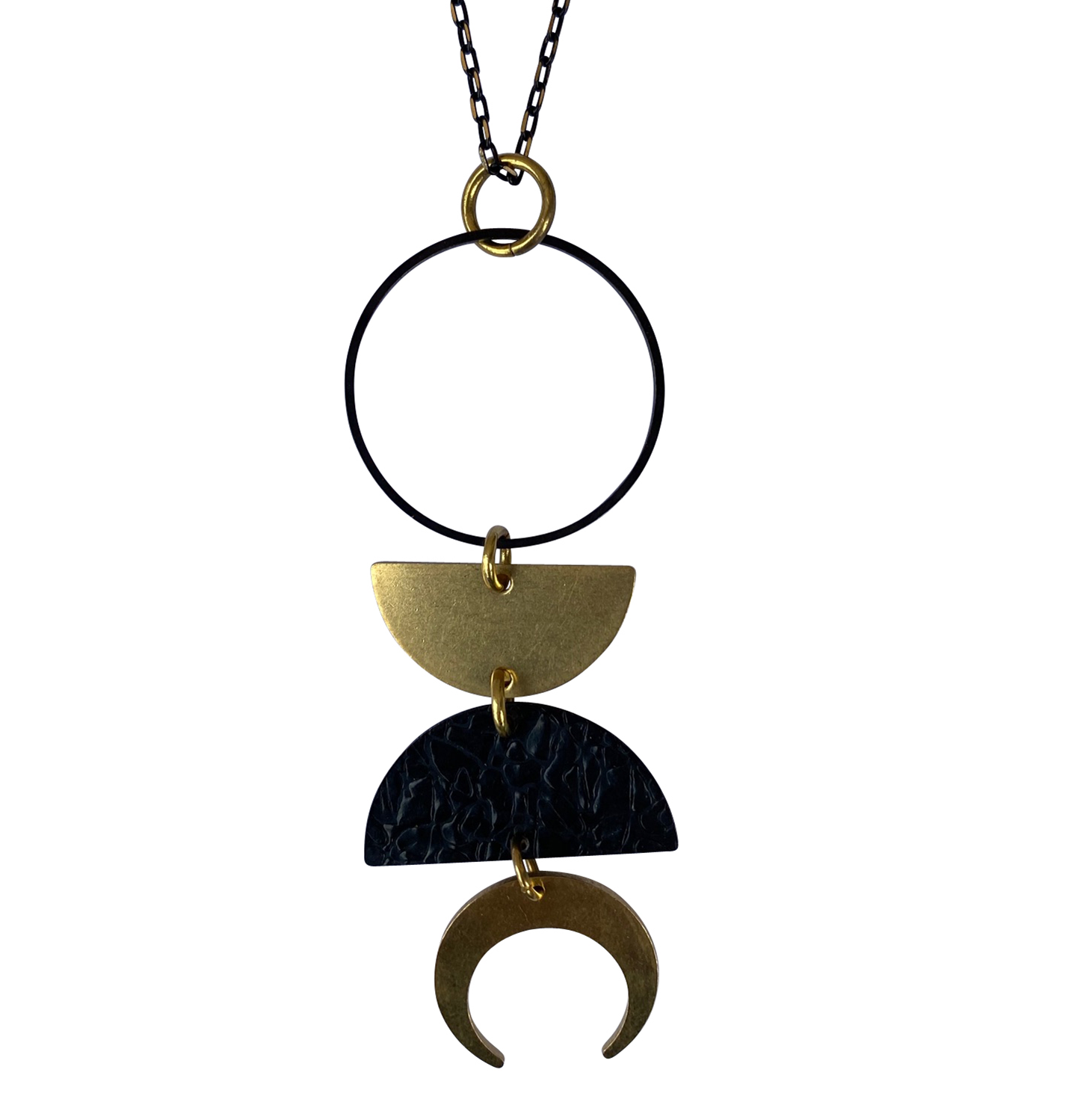 Kaiko Pendant Geometric Half Moon Crescent Moon Black and Brass