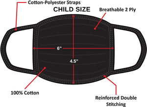 Child Cloth Face Mask - 100% Cotton - Black - 5 Pack